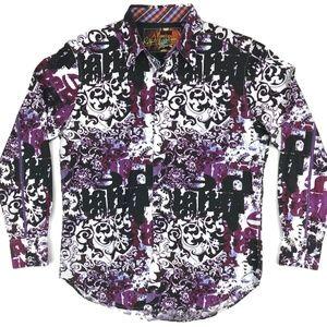 Robert Graham Floral Paisley Flip Cuffs Shirt Sz M
